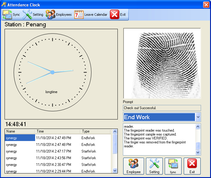 e-leave Check Out with Fingerprint