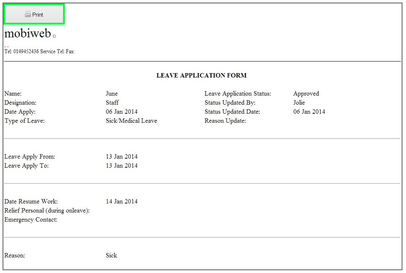BMO e-Leave E-Leave Report and Leave Application Form