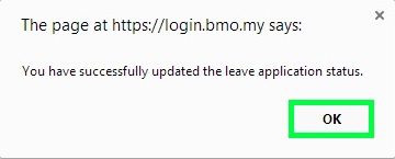 BMO e-Leave Leave Application Status Updated