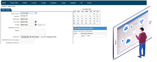 e-Leave HRM System HR Software, Attendance, Leave, Time, Claims