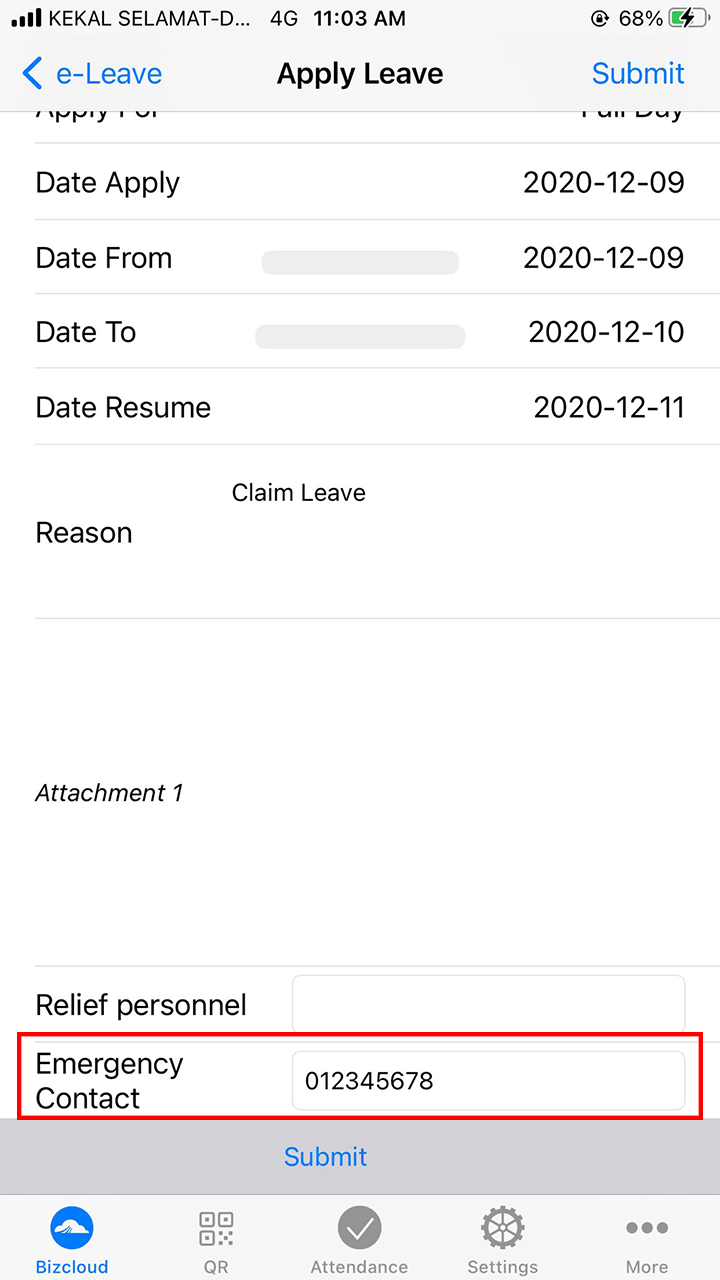 apply leave bizcloud android app